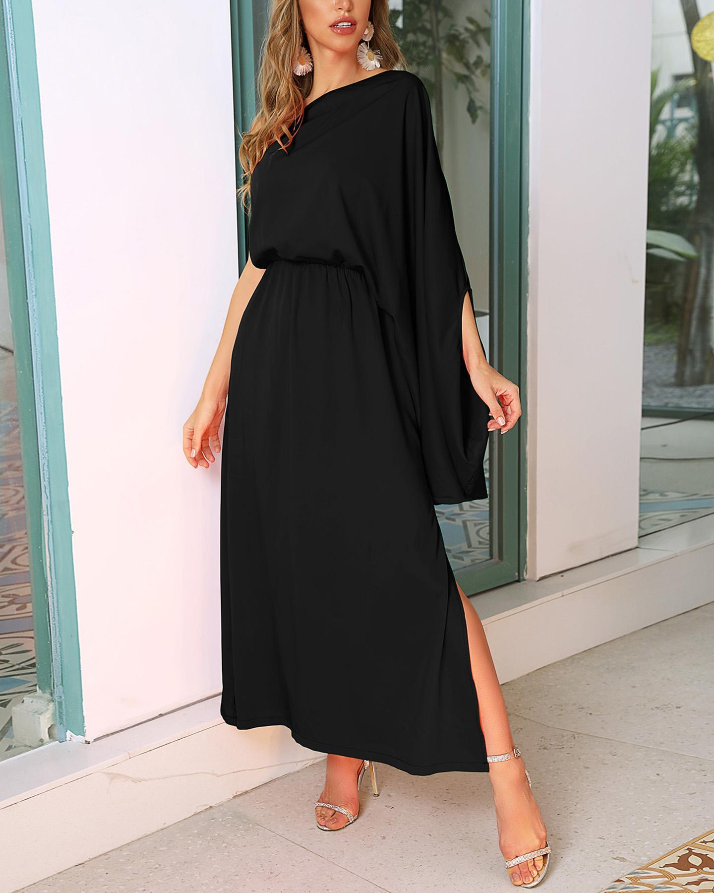 Solid One Shoulder Slit Dress thumbnail