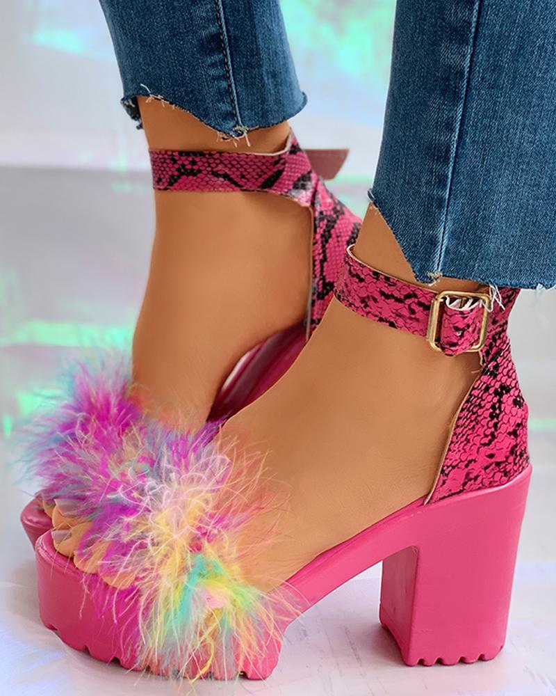 Snakeskin Ankle Strap Fluffy Block Heels thumbnail