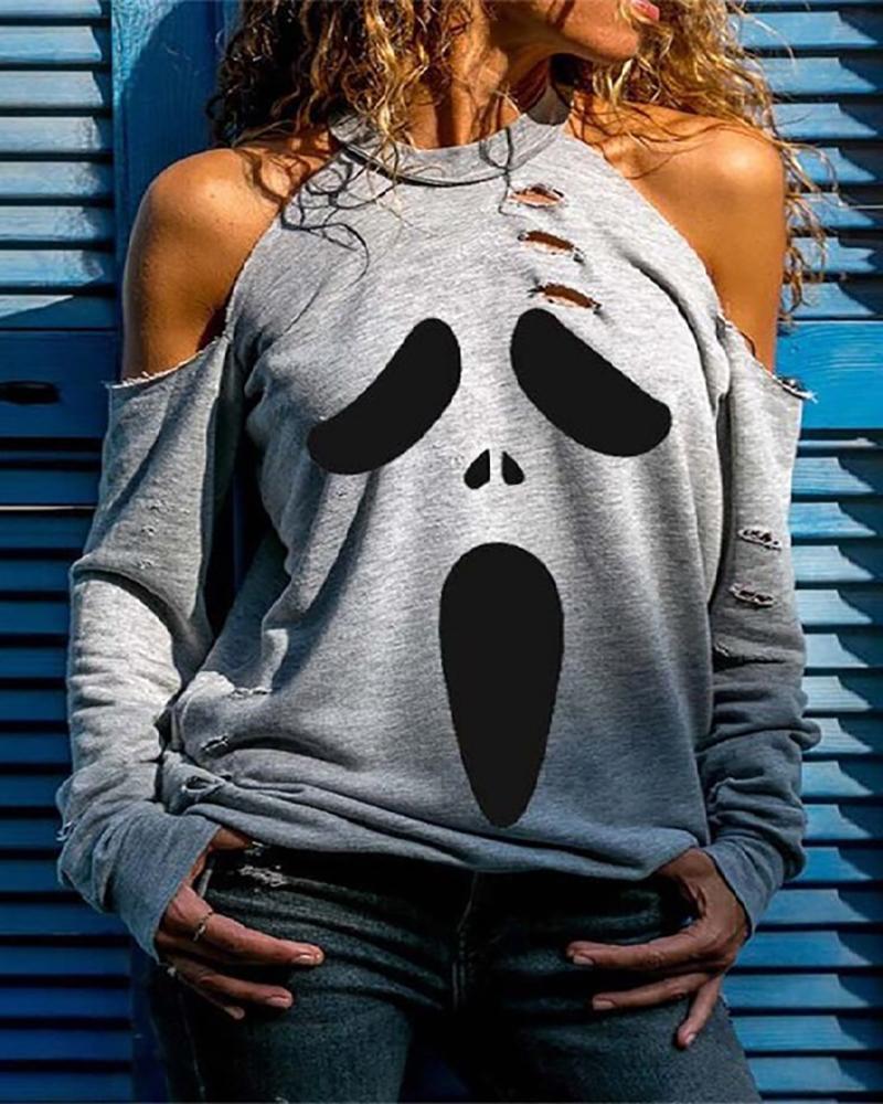 Halloween Cold Shoulder Ghost Print Cutout Top thumbnail