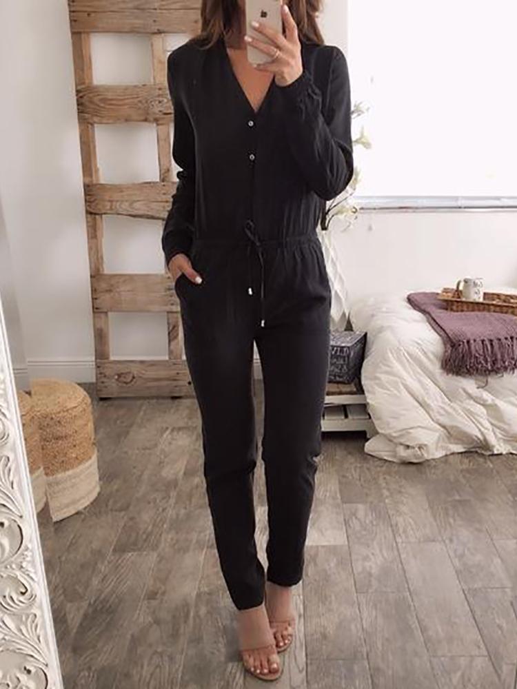 V Neck Button Drawstring Black Jumpsuits