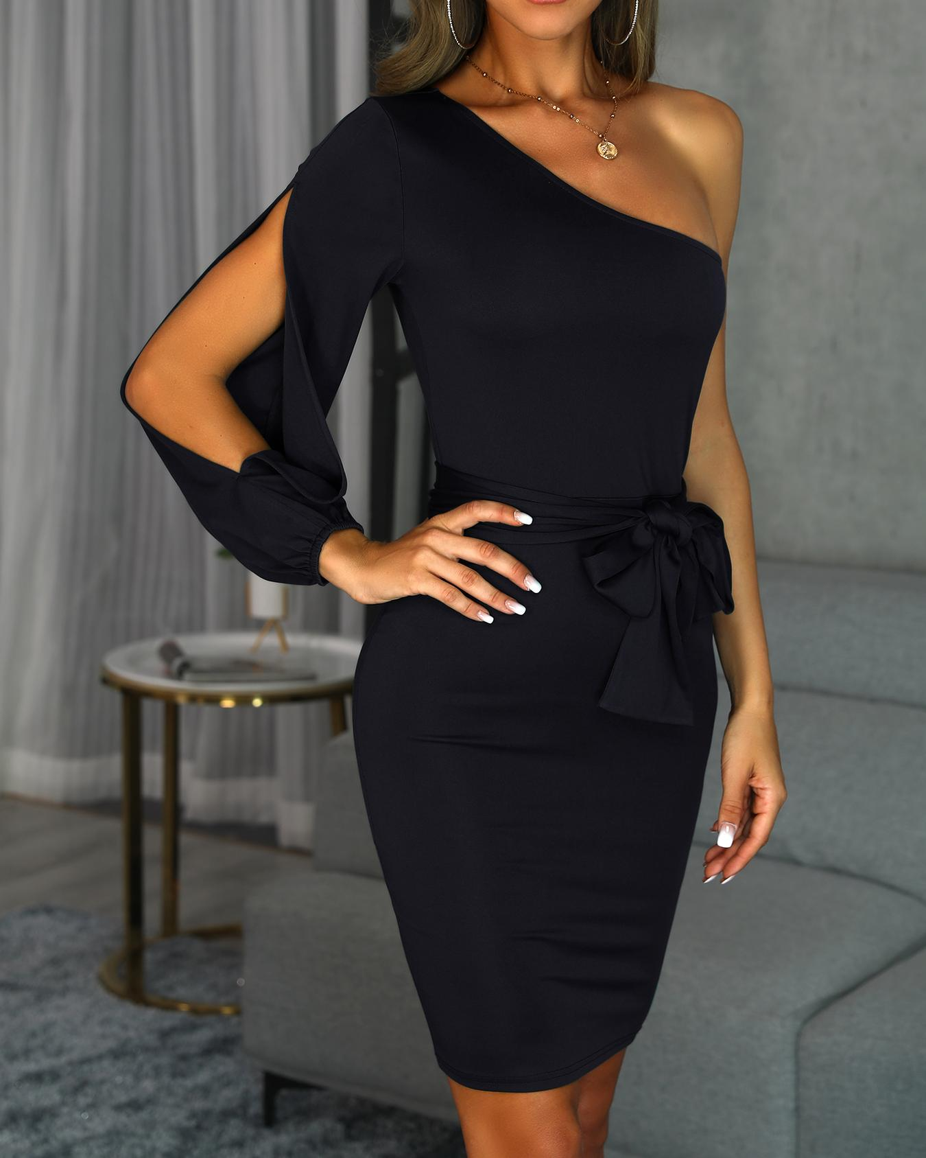 One Shoulder Slit Sleeve Bodycon Dress thumbnail