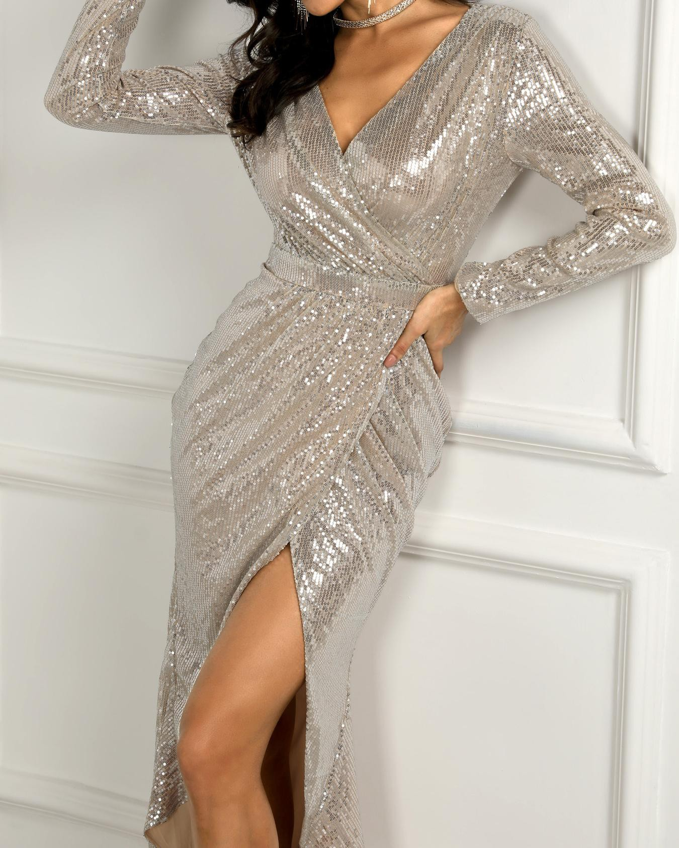 c43a1587 Wrap Ruched Irregular Sequin Party Dresses