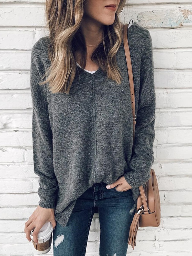 Solid Casual V-Neck Top Jumper