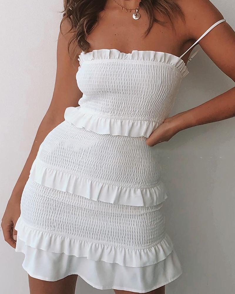 Solid Tiered Spaghetti Strap Mini Dress thumbnail