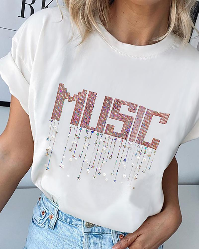 Sequins Letter Round Neck Casual T-shirt thumbnail