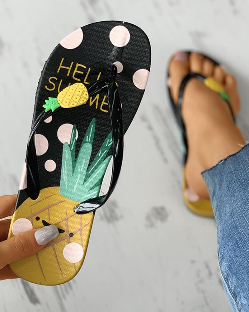 Pineapple Pattern Open Toe Flip Flops thumbnail