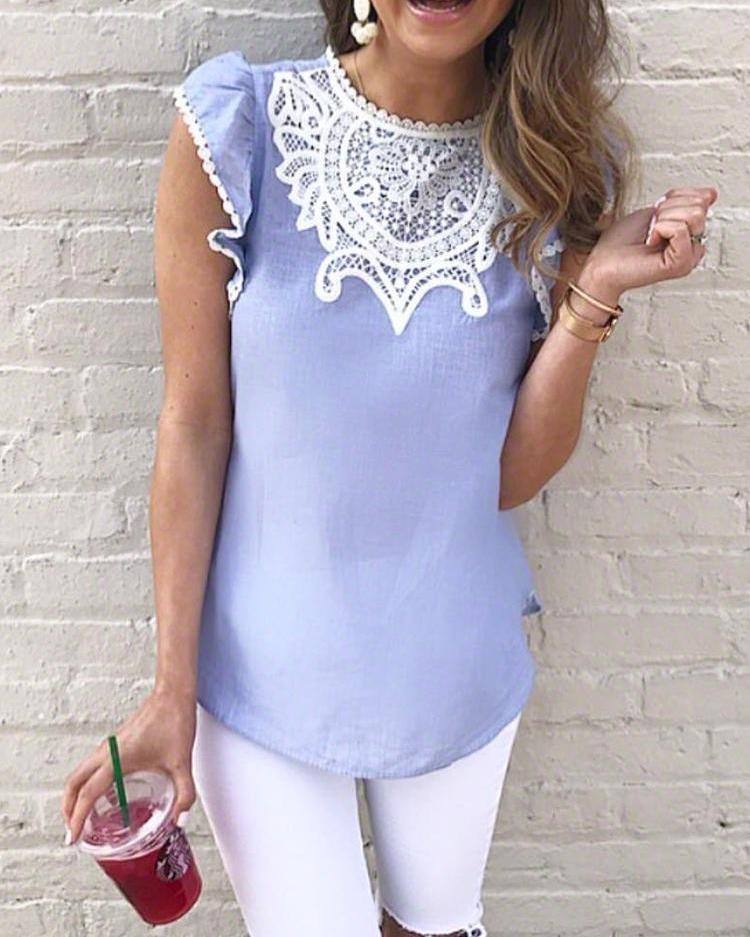 Crochet Lace Splicing Flutter Sleeve Casual Blouse