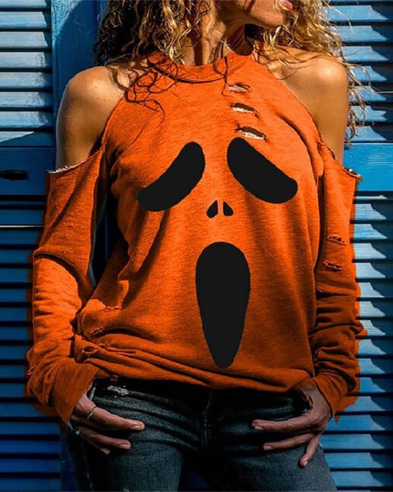 Halloween Cold Shoulder Ghost Print Cutout Top thumbnail