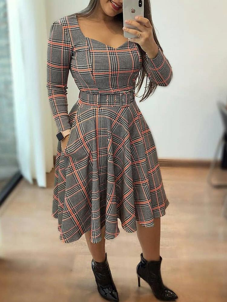 Grid Self Belted Pocket Pleated Casual Dress