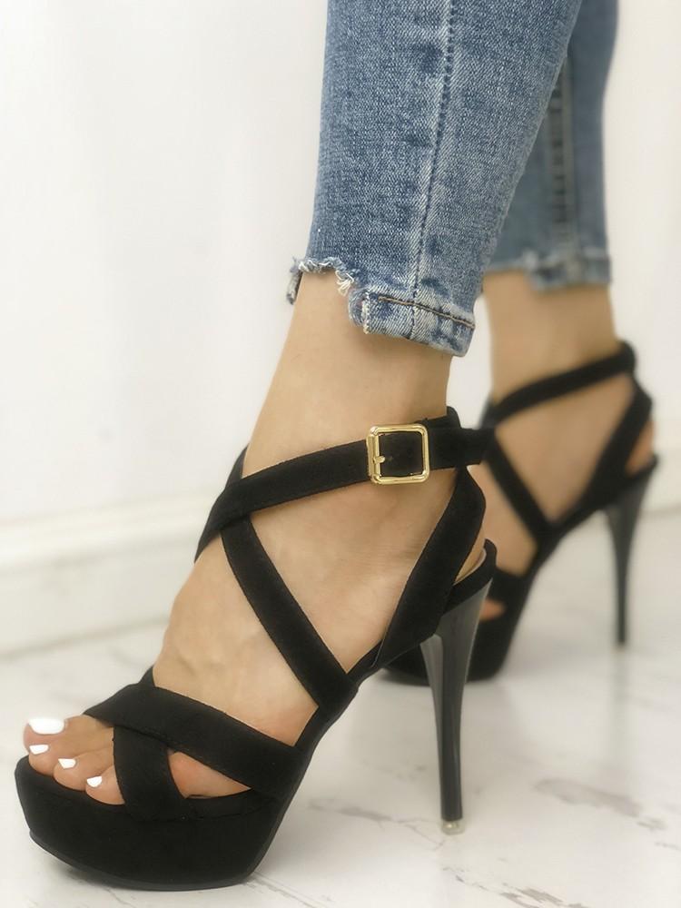 boutiquefeel / Crisscross Buckle Platform Thin Heeled Sandals