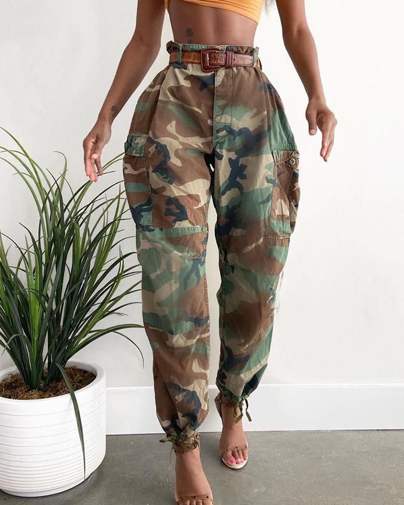 High Waist Camouflage Print Casual Pants thumbnail