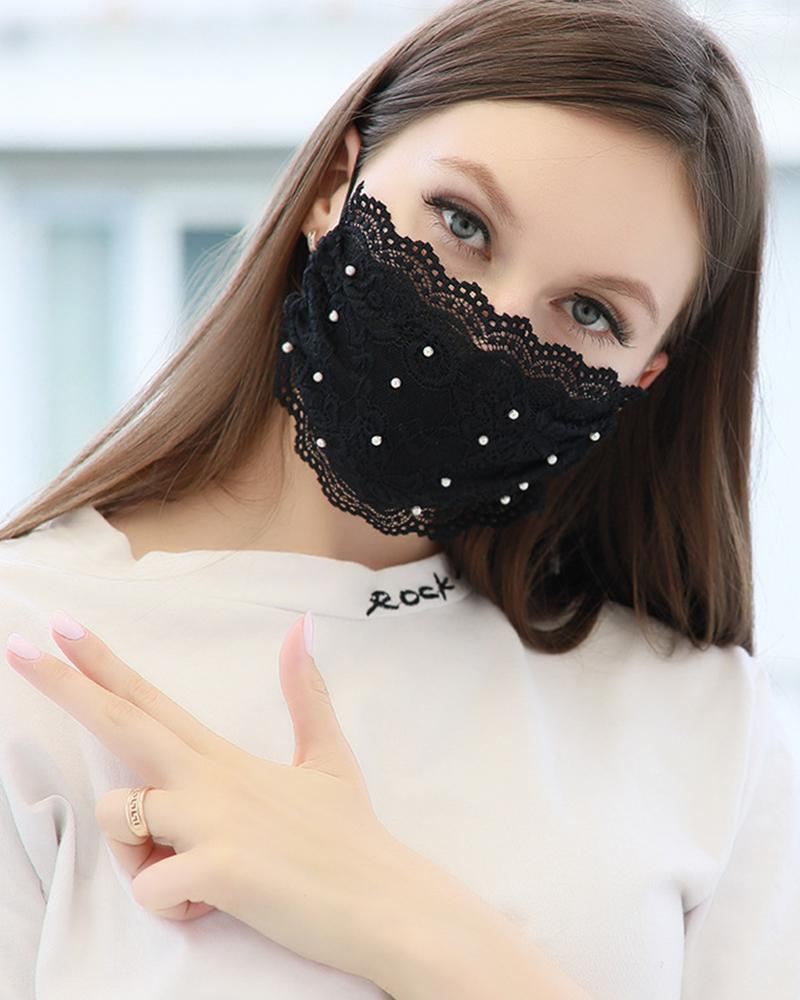 Lace Pearl Dust-proof Face Mask thumbnail