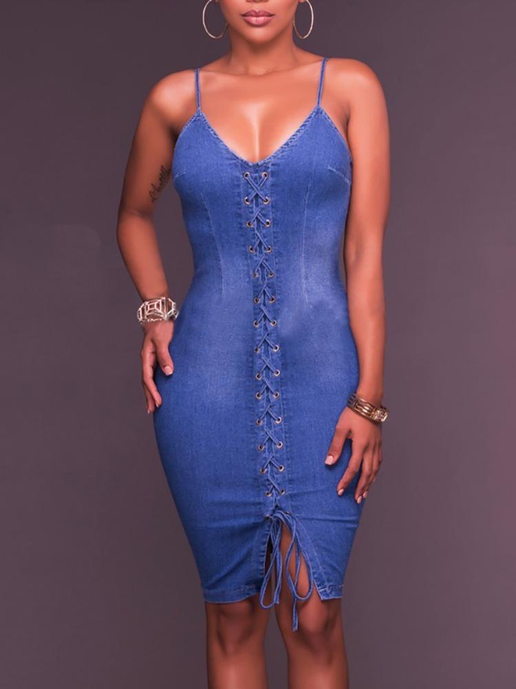 090f451bac Fashion Lace-up Denim Bodycon Slip Dress Online. Discover hottest ...