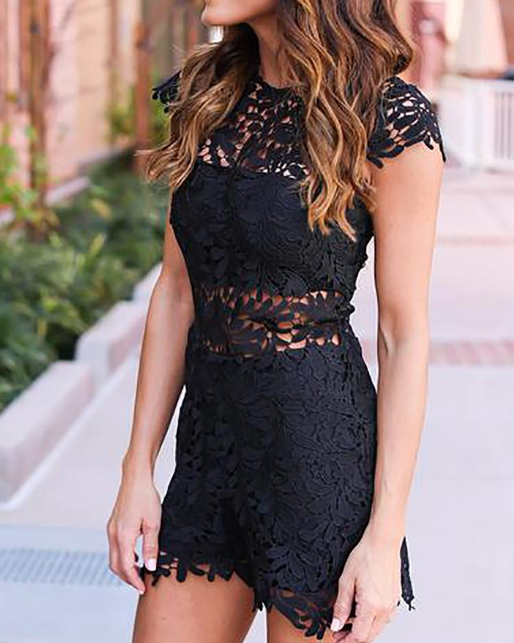 Joyshoetique coupon: Sexy Cap Sleeve Hollow Out Lace Mini Dress