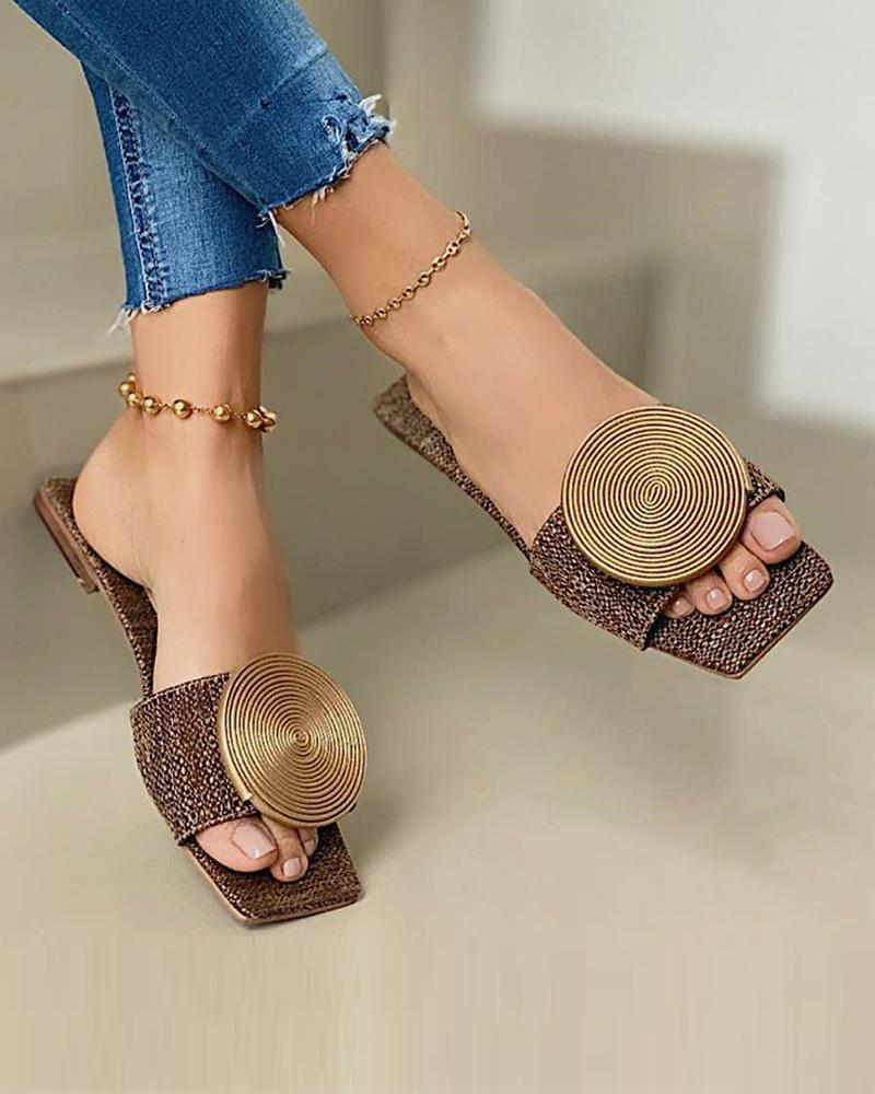 Solid Round Buckle Decoration Flat Sandals thumbnail