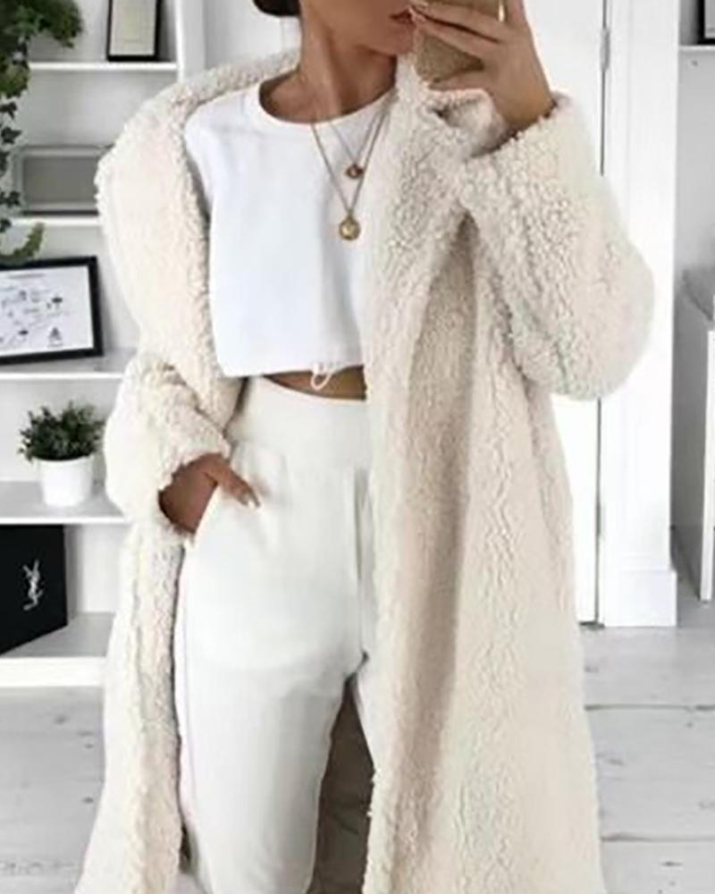 Plain Button Design Long Sleeve Teddy Longline Coat