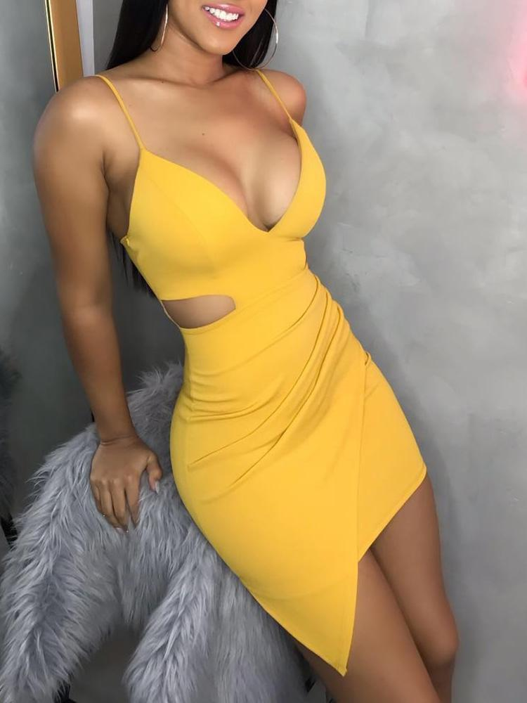 Spaghetti Strap Ruched Cut Out Dress