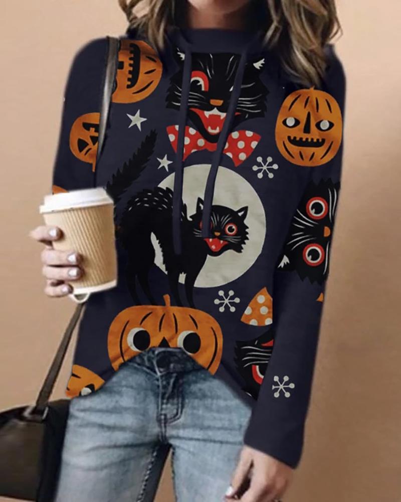 Halloween Cat Pumpkin Print Casual Hooded Top thumbnail