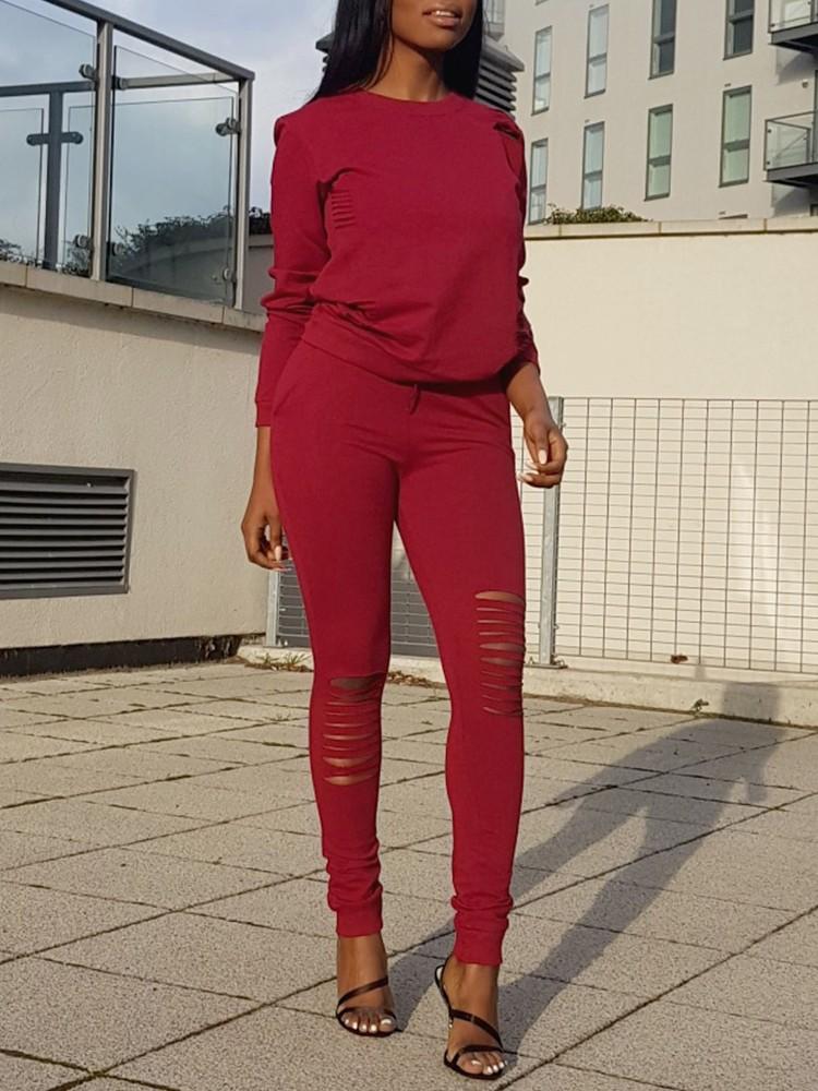 Fashion Ladder Cut Out Sweatshirt Pants Set