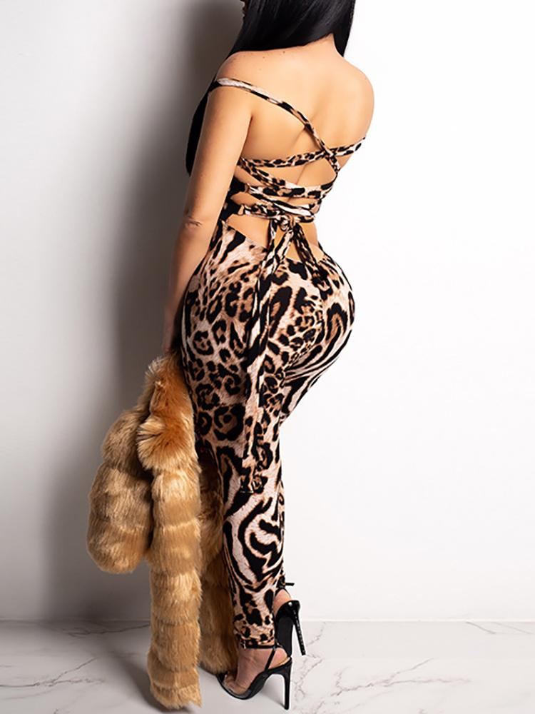 boutiquefeel / Leopard Print Lace Up Backless Petite Jumpsuit