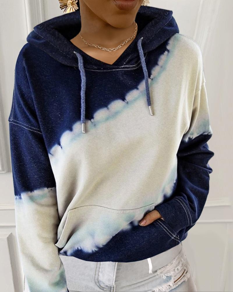 Hooded Tie Dye Print Pocket Casual Sweatshirt thumbnail