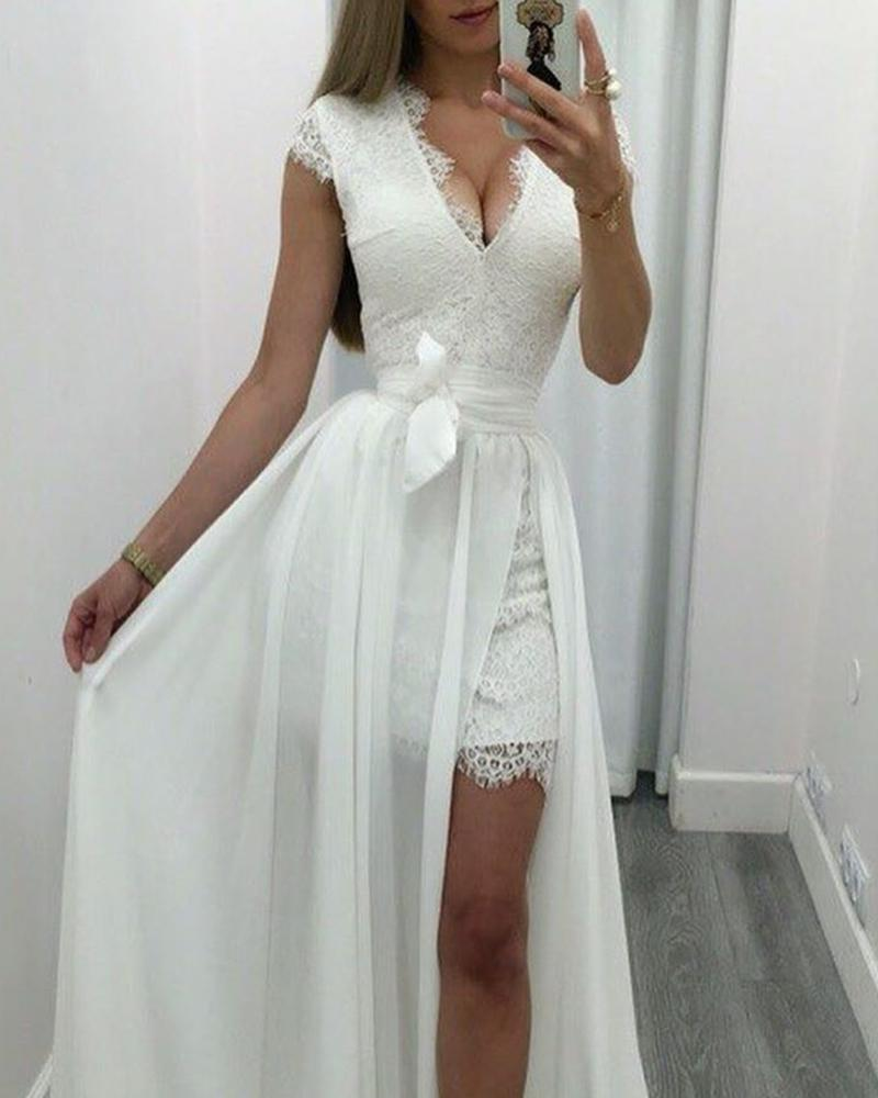 Lace bodycon dress with maxi skirt sets