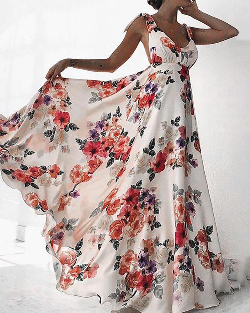 Floral Print Tied Detail Backless Maxi Dress