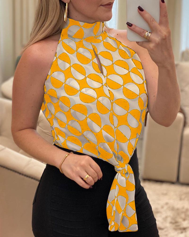 O Neck Sleeveless Polkadot Print Blouse, boutiquefeel, yellow  - buy with discount