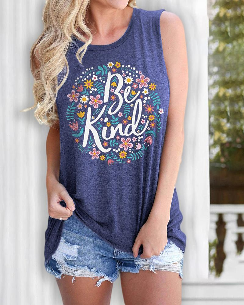 Letter Floral Print Casual Tank Top thumbnail