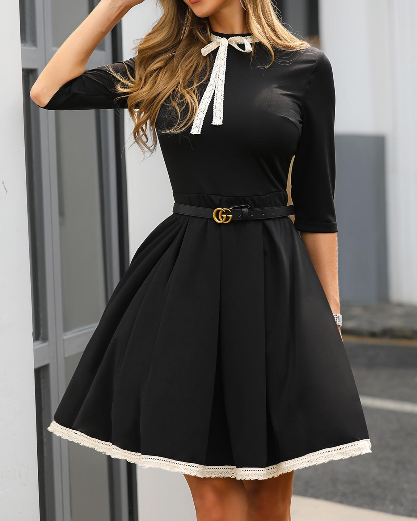 634197f2923 Lace Insert Ruched Bowknot Detail Dress Online. Discover hottest trend  fashion at chicme.com