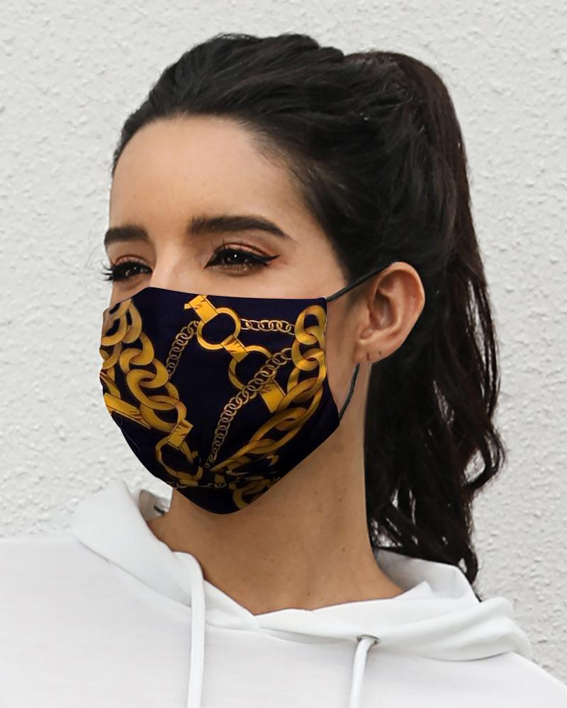 Chain Print Breathable Mouth M .a. s. k Washable And Reusable thumbnail