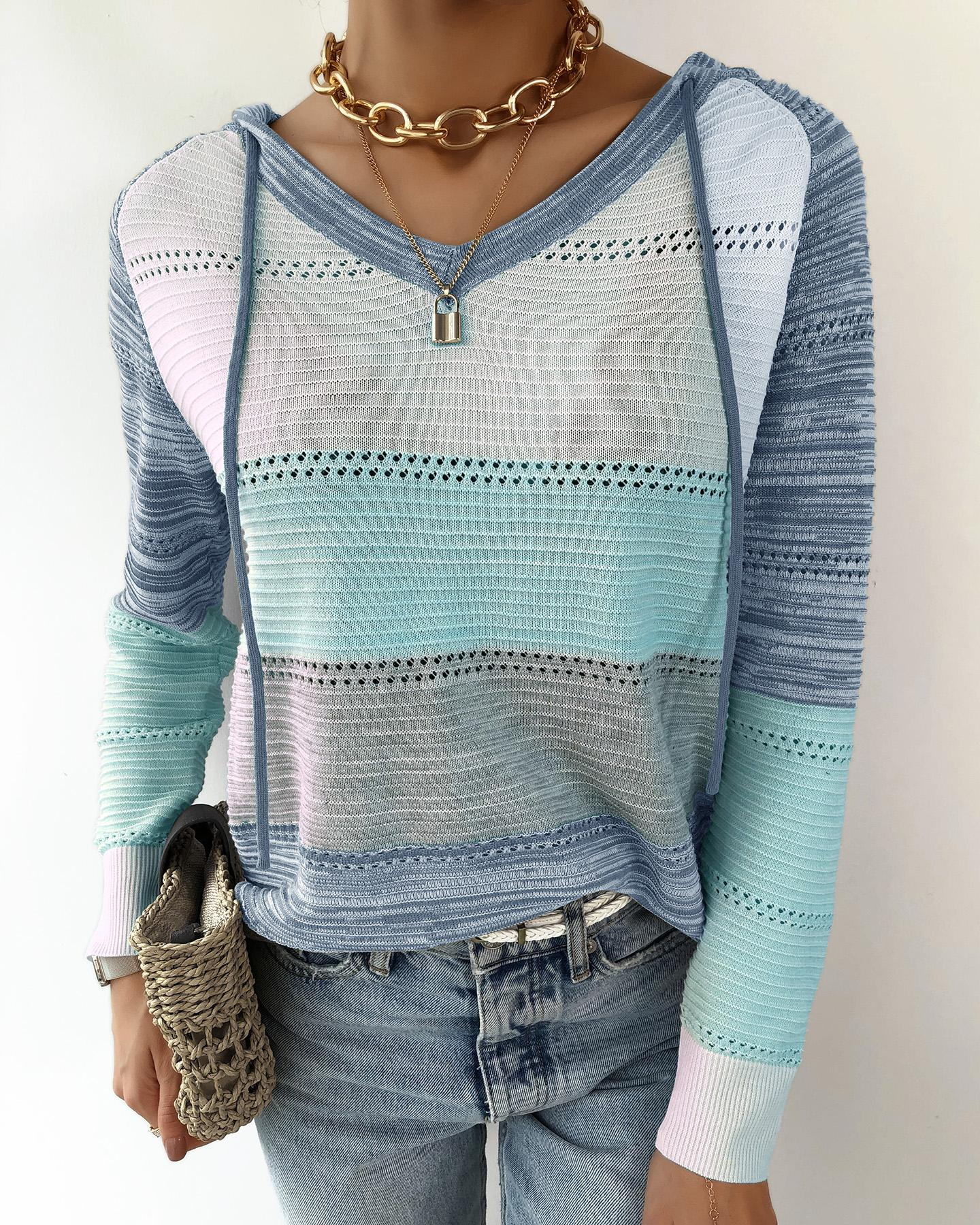 Knit Colorblock Hollow Out Hooded Sweater thumbnail