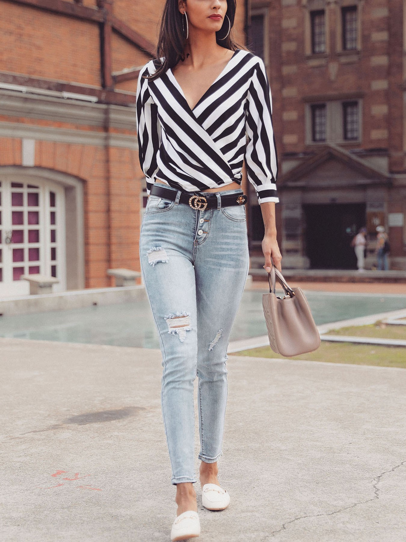 boutiquefeel / Contrast Stripes Deep V Wrapped Blouses