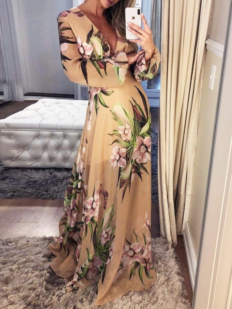 Floral Flock Print Plunge Maxi Dress