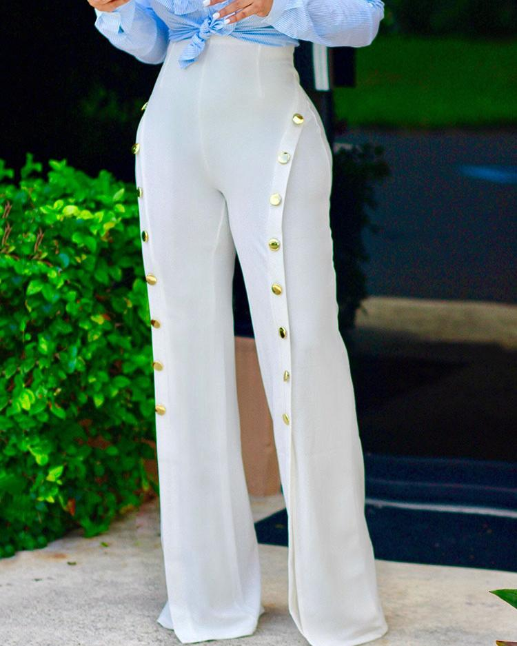 Stylish High Waist Buttoned Split Wide Leg Pants thumbnail