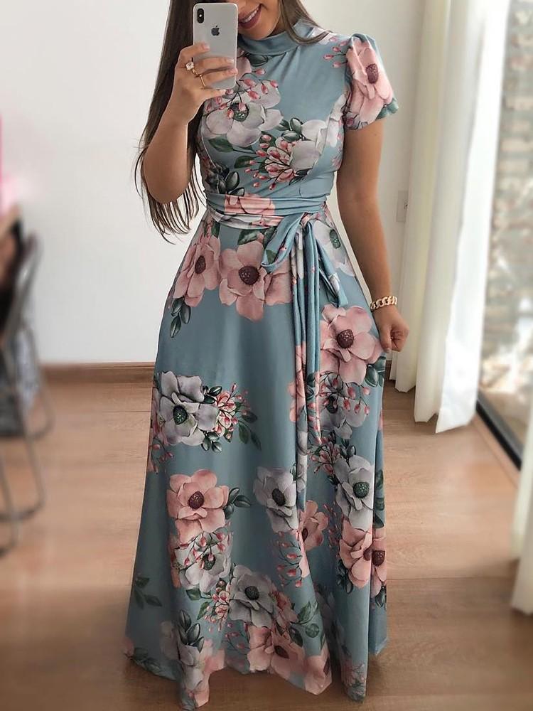 6d3946304f Floral Print Short Sleeve Tie Waist Maxi Dress