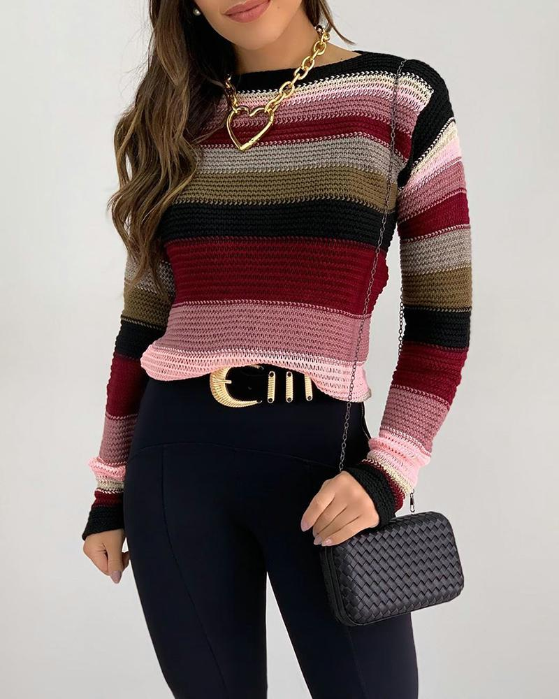 Colorblock Long Sleeve Casual Sweater thumbnail