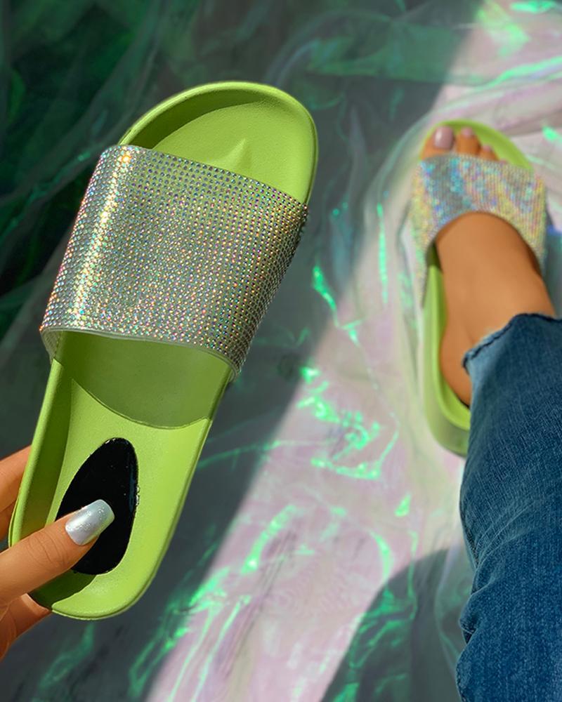 Rhinestone Peep Toe Flatform Heeled Sandals thumbnail