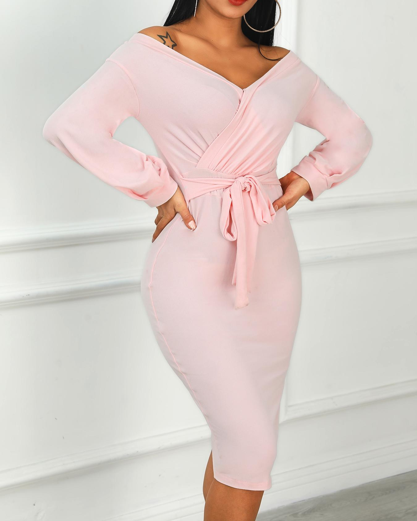 Ivrose coupon: Off Shoulder Twisted Waist Tie Sexy Midi Dress