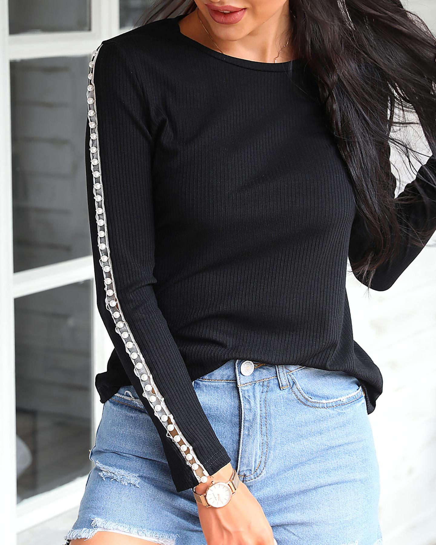 Beaded Ribbed Round Neck Blouse thumbnail