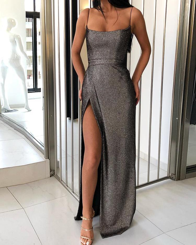 e8501fad39c86 Shiny Spaghetti Strap High Slit Evening Dress Online. Discover hottest  trend fashion at chicme.com