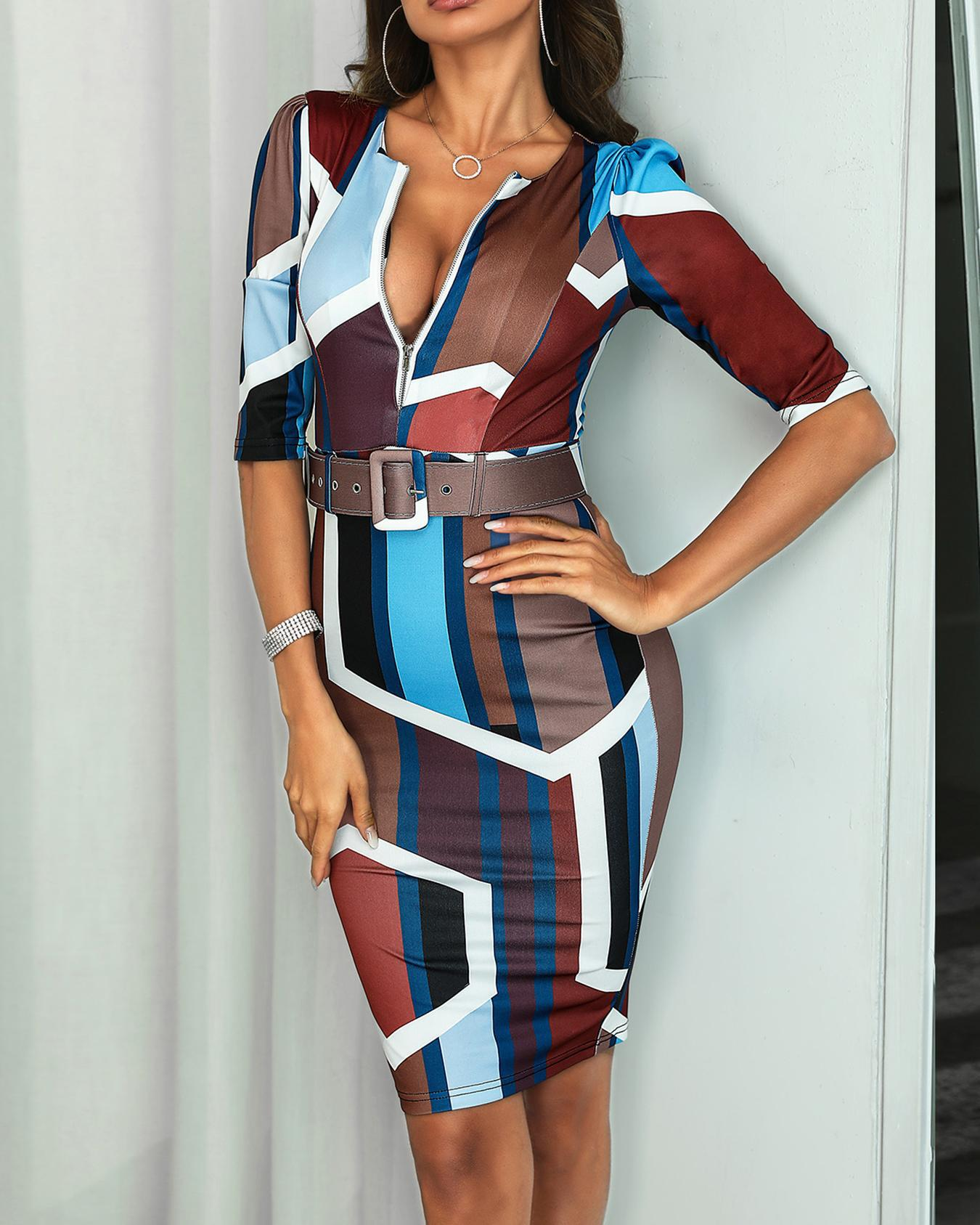603e7268dd00 Geo Print Zipper Belted Skinny Dress Online. Discover hottest trend fashion  at chicme.com