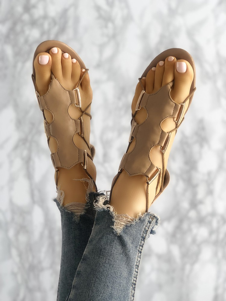 boutiquefeel / Hollow Out Toe Post Flat Gladiator Sandals