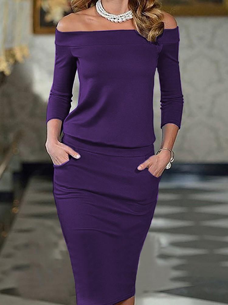 boutiquefeel / Elegant Slash Neck Pocket Bodycon Pencil Dress