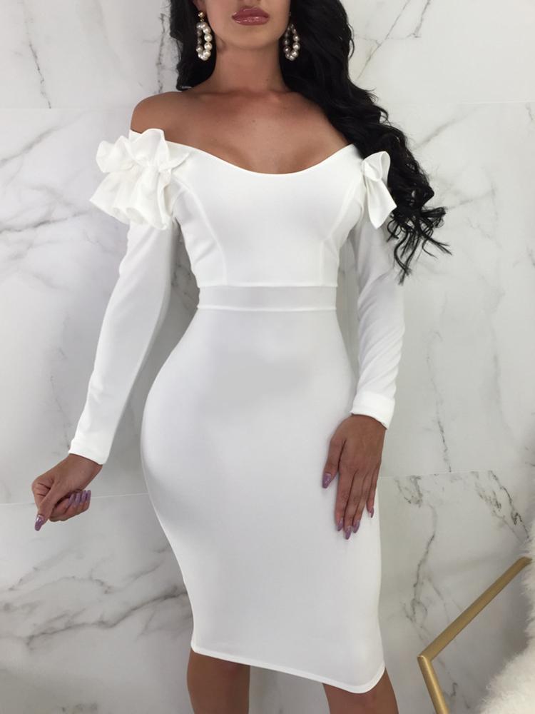 Frills Shoulder Long Sleeve Bodycon Dress