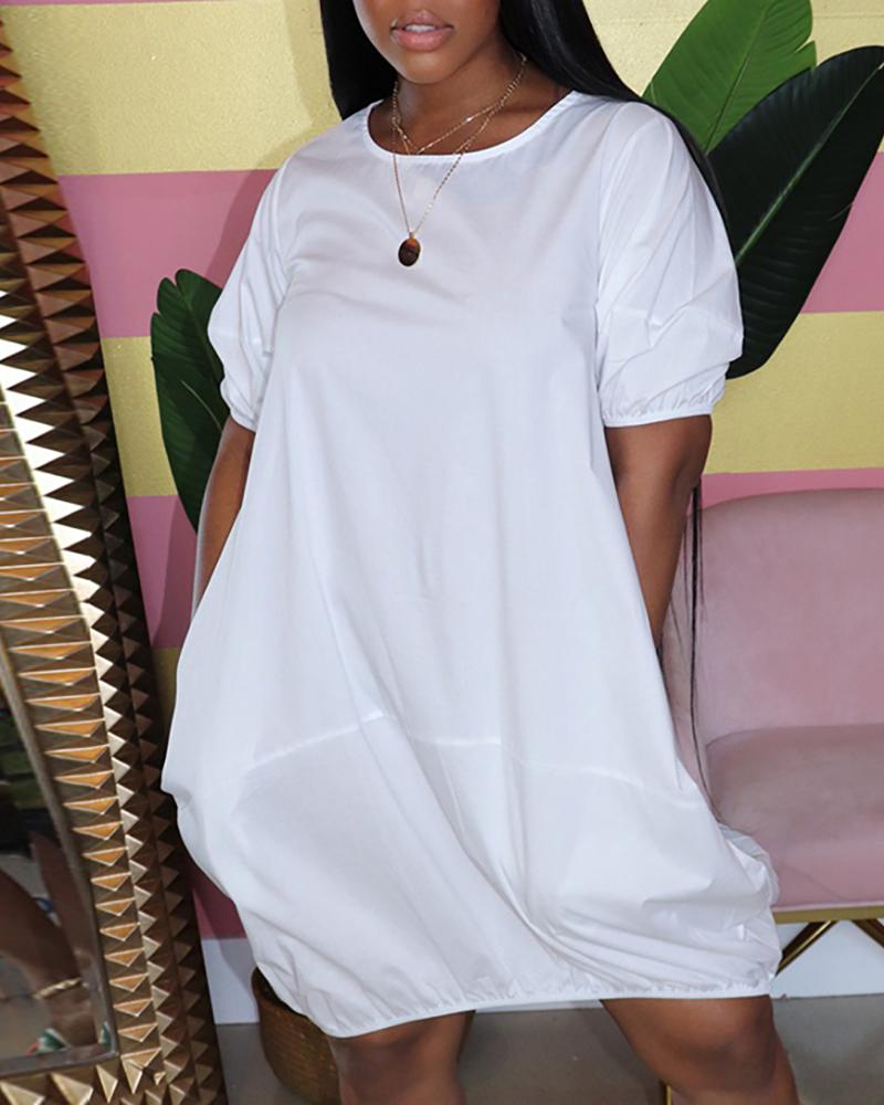 Puffed Sleeve Ruched Casual T-shirt Dress thumbnail
