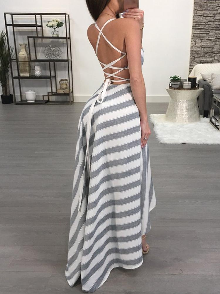 boutiquefeel / Contrast Striped Crisscross Open Back Maxi Dress