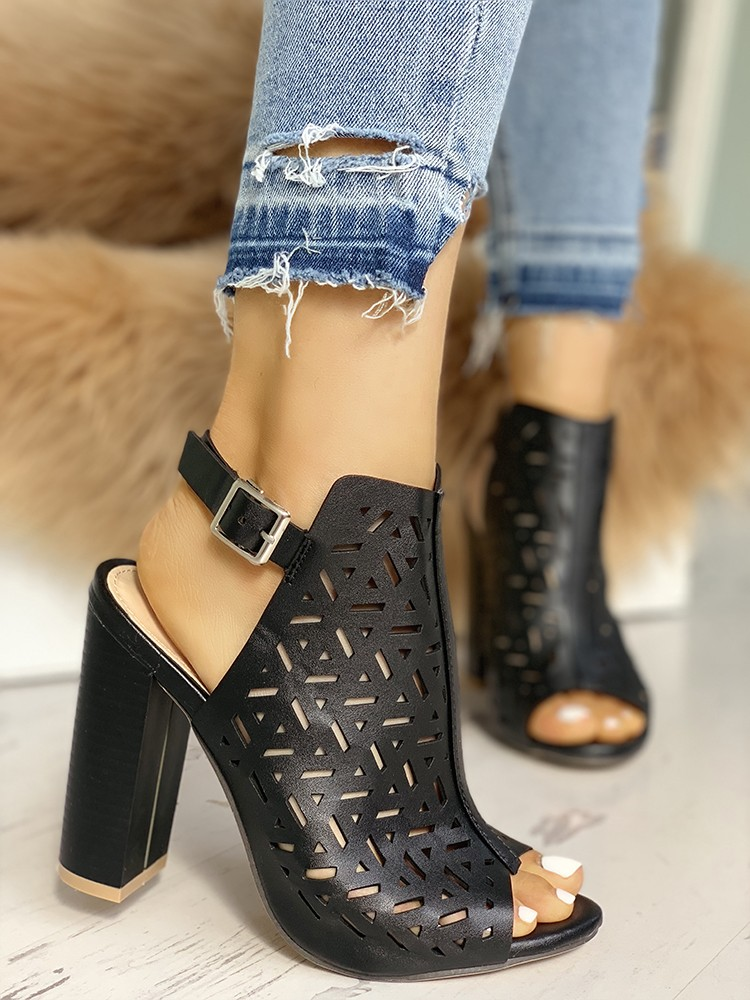 boutiquefeel / Hollow Out Peep Toe Buckle Chunky Heeled Sandals
