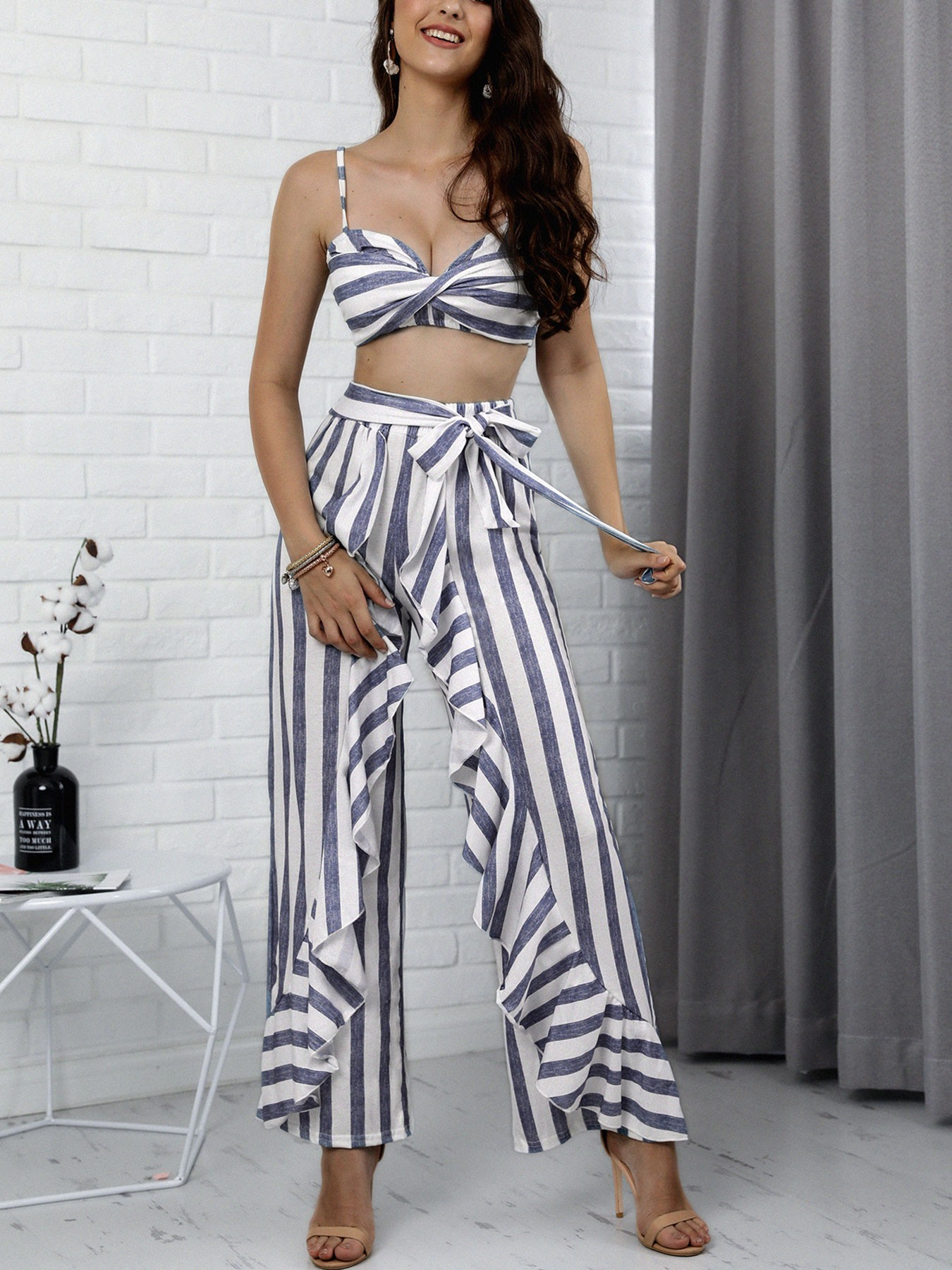 Striped Twist Cami Top & Ruffle Wide Leg Pants Set