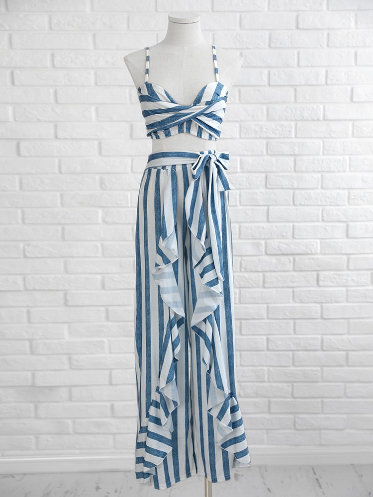 boutiquefeel / Striped Twist Cami Top & Ruffle Wide Leg Pants Set